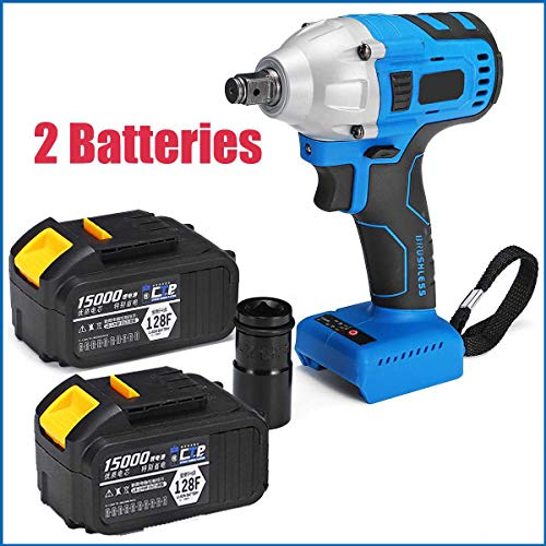 - Brushless Cordless Electric Impact Wrench, 15000mAh lithium battery Rechargeable Batteries Powerful Drill Screw Driver Wrench