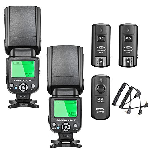 Neewer NW-562 E-TTL Flash Speedlite Kit for Canon DSLR Camera, Include:(2)NW-562 Flash + (1)2.4Ghz Wireless Trigger(1 Transmitter + 2 Receiver) ()