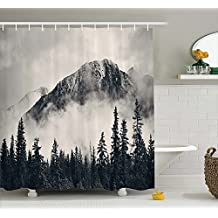 Mountain Shower Curtain, Madison Park Shower Curtain, Grace Canadian Smokey Mountain Cliff Shower Curtain
