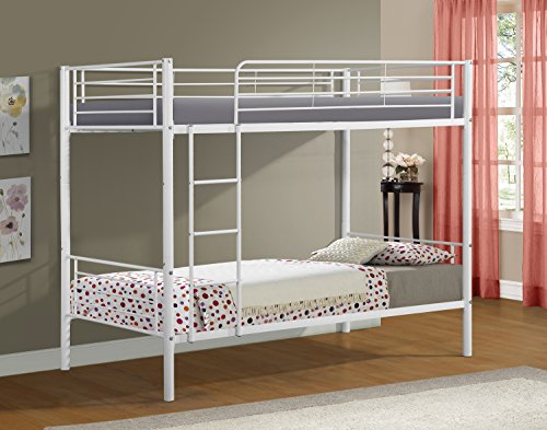 Merax Twin-Over-Twin Metal Bunk Bed in White(White) (Bed Powder Bunk White Coated)