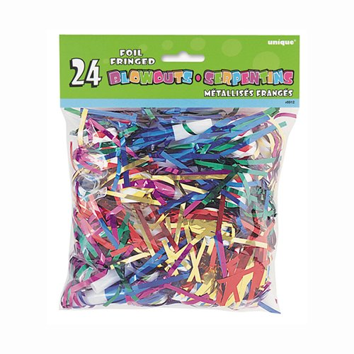 Foil Fringe Party Blowers, Assorted 24ct