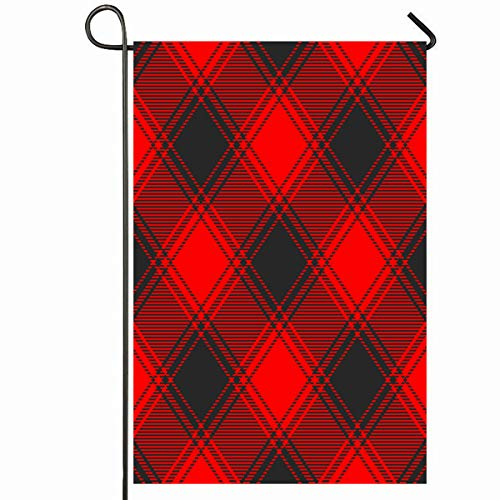 Ahawoso Outdoor Garden Flag 12x18 Inches Abstract Red Black Buffalo Plaid Pattern Graphic Border Check Checker Christmas Diagonal Seasonal Home Decorative House Yard Sign ()