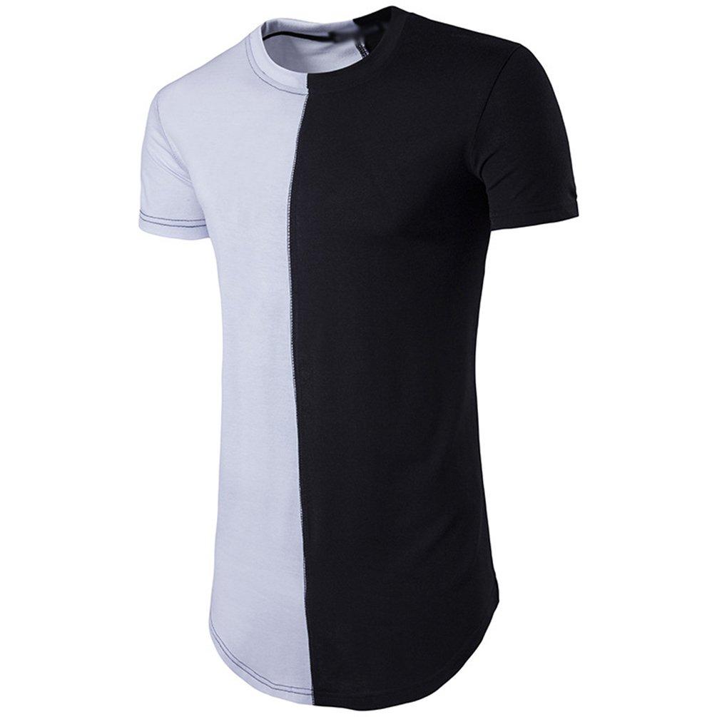 93b25a3b36 CHENGYANG Uomo T-Shirt Cotone Fitness Cucitura Manica Corta Collo ...
