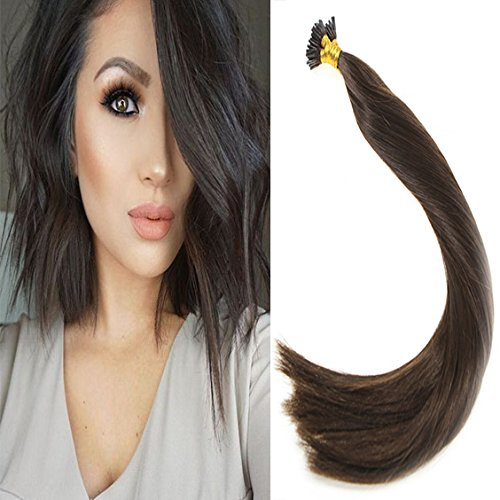 Sunny 24 Inch Remy Straight Pre bonded I-tip Fusion Hair Extensions Human Hair Professional Salon Style Color #2 Dark Brown 1g Per Strand 50g Per - 2 Days For Pre Shipment Usps