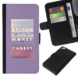 KLONGSHOP // Tirón de la caja Cartera de cuero con ranuras para tarjetas - Sueños de dinero puede comprar el cartel de texto - HTC Desire 820 //