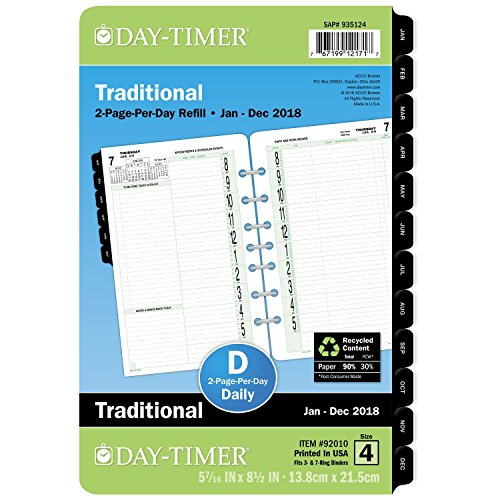 Day-Timer Planner Refill, Two Page Per Day, January - December 2018, 5-7/16