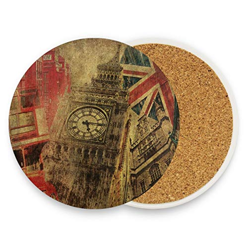 Vintage Big Ben Union Jack Red Telephone House Coasters, Prevent Furniture from Dirty and Scratched, Round Wood Coasters Set Suitable for Kinds of Mugs and Cups, Living Room Decorations Gift Set of 4