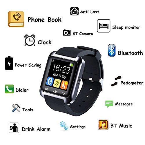 Smartwatch,Culater Smart Bluetooth muñeca Inteligente Reloj sana podómetro Monitor de sueño Alarma Calendario llamada con la Pantalla Táctil Android,Samsung ...