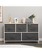 Soges Fabric 5-Drawer Storage Organizer Unit for Bedroom, or Play Room with Fabric Bin Storage Unit