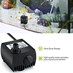 Homasy 80 GPH (300L/H) Submersible Water Pump For Pond, Aquarium, Fish Tank Fountain Water Pump Hydroponics with 4.9ft (1.5m) Power Cord