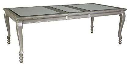 Ashley Furniture Signature Design   Coralayne Dining Room ExtensionTable    Glamorous Metallic Silver Frame