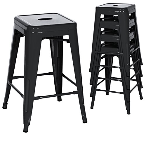 Best Choice Products 24in Set of 4 Indoor Outdoor Stackable Backless Counter Height Stools - Black