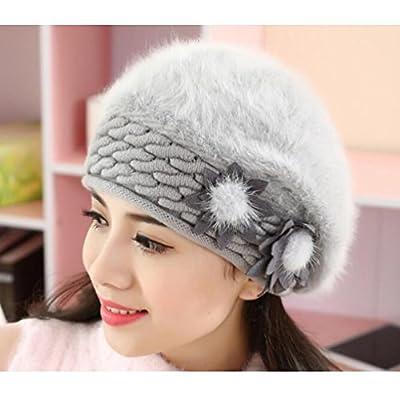 Doodo Trendy Rabbit Fur Hats Winter Beret for Women Girl-5 colors