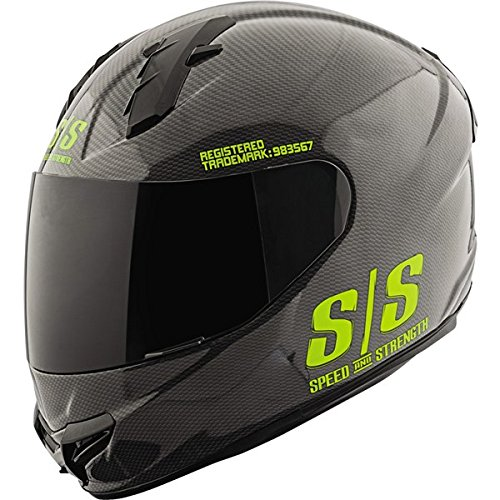Speed and Strength Twist of Fate Men's SS1400 Full Face Motorcycle Helmet - Black/Hi-Vis / X-Large