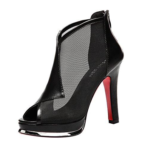 Passionow Women's Fashion Peep-Toe Back Zipper Mesh & PU Leather Matching Upper High Heel Pumps