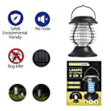Longans Bug Zapper Mosquito Killer Camping Lamp 2 IN 1 Electronic Insect Killer Light via Solar Charging, Built in Insect Trap, Perfect for Indoor Outdoor Home Traveling