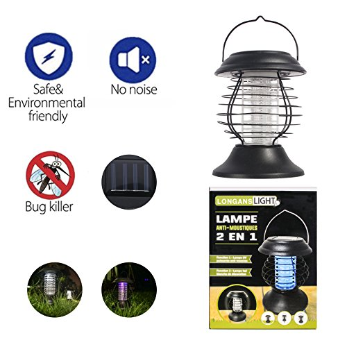 Longans Bug Zapper Mosquito Killer Camping Lamp 2 IN 1 Electronic Insect Killer Light via Solar Charging, Built in Insect Trap, Perfect for Indoor Outdoor Home (Solar Bug Killer Light)