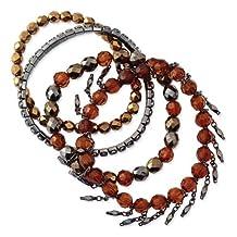 1928 Black-plated Multicolored Glass & Acrylic Beads Stretch Bracelets