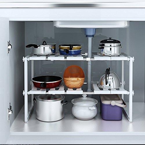 YOMYM 2 Tier Under Sink Storage Shelf Storage Organizer Kitchen Cabinet by YOMYM