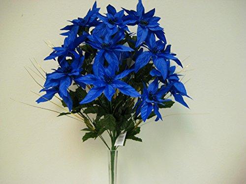 NAVY BLUE Christmas Poinsettia Bush Artificial Silk Flower 1 x 24 Bouquet 030NBL (Artificial Poinsettia Plant)