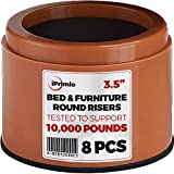 "iPrimio Bed and Furniture Risers – Round Shaped Elevator up to 3.5"" - Protect Floors and Surfaces – Durable ABS Plastic and Anti Slip Foam Grip – Secure Stacking (Brown 8 Pack)"