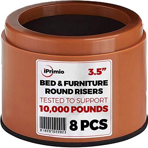 """iPrimio Bed and Furniture Risers – Round Shaped Elevator up to 3.5"""" - Protect Floors and Surfaces – Durable ABS Plastic and Anti Slip Foam Grip – Secure Stacking (Brown 8 Pack) by iPrimio"""