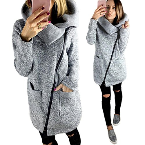 Hot Sale!Elevin(TM)Womens Casual Hooded Jacket Coat Long Zipper Top Sweatshirt Outwear (L, Gray)