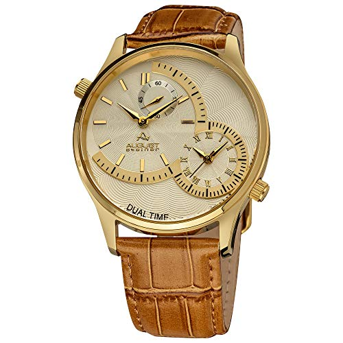 - August Steiner Men's Unique Shaped Dual Time Zone Men's Watch - On a Genuine Embossed Alligator Leather Strap - AS8010