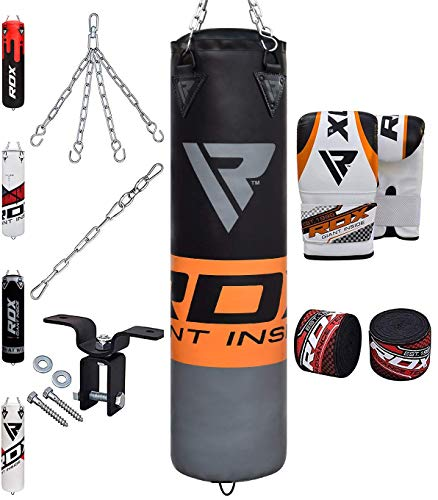 RDX Punching Bag Filled Set Kick Boxing MMA Heavy Muay Thai Training Gloves Punching Mitts Hanging Chain Anchor Ceiling Hook Martial Arts 4FT 5FT (Boxing Material)