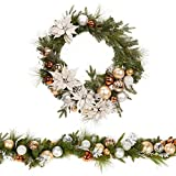 Vibrant Metallic Christmas Holiday Wreath & Garland Set