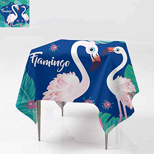 Indoor/Outdoor Square Tablecloth,Flamingo with Tropical Palm Leaves Perfect for Wallpapers Web Page Backgrounds Surface Textures Textiles for Events Party Restaurant Dining Table Cover 50x50 Inch