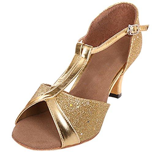 Azbro Mujer Zapatos de Baile Latino Punta Abierta Mary Jane T-Correa Dorado