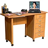 Folding Mobile Desk & Craft Table w 5 Drawers in Oak Finish