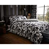 Camouflage 'Grey' Bedding Super King Duvet Cover Set