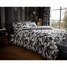 Camouflage 'Grey' Bedding Super King Duvet Cover Set