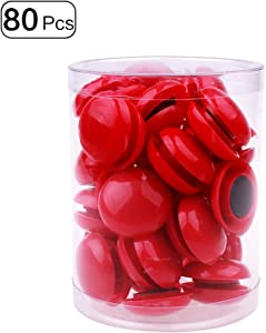 80Pcs Refrigerator Whiteboard Magnets Magnetic Button Round Plastic for Office School Red 20mm