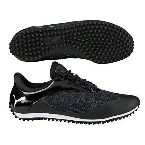 PUMA Golf Women's Summercat Sport Golf Shoe, Black/White, 7 Medium US