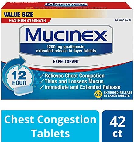 Chest Congestion, Mucinex Maximum Strength 12 Hour Extended Release Tablets, 42ct, 1200 mg Guaifenesin with extended relief of  chest congestion caused by excess mucus, thins and loosens mucus