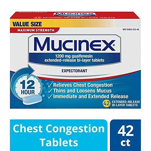 Chest Congestion, Mucinex Maximum Strength 12 Hour Extended Release Tablets, 42ct, 1200 mg Guaifenesin with extended relief of  chest congestion caused by excess mucus, thins and loosens mucus (Coughing Up Clear Phlegm All The Time)