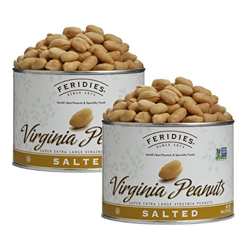 FERIDIES Salted Super Extra Large Virginia Peanuts - 2 Pack 18oz Cans, NonGMO, OU Kosher ()