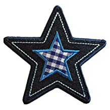 Iron-on patches letters by TrickyBoo Star 10x9cm Jeans Round 7X7cm decorative appliques make personalized gifts