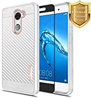 Huawei Ascend XT 2 Case with [Full Cover Tempered Glass Screen Protector], NageBee [Frost Clear] [Carbon Fiber] Slim Soft Cover Case For Huawei Ascend XT2 H1711 / Huawei Elate 4G LTE -Rose Gold