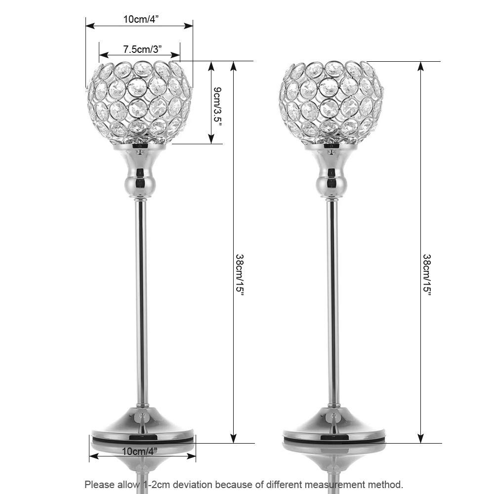 VINCIGANT Silver Crystal Pillar Candle Holders Coffee Table Decorative Centerpiece for Wedding Candlelight Dinner Vases,Anniversary Thanksgiving Gifts