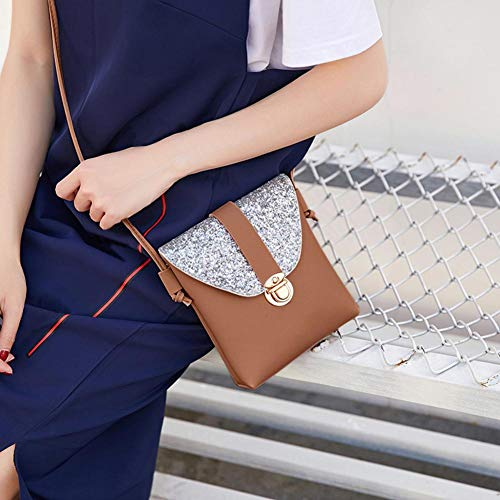 Bling Small Bags Crossbody Domybest Cute Lady PU Shoulder Mini Handbag Brown Bag Light Women wxt1IYH