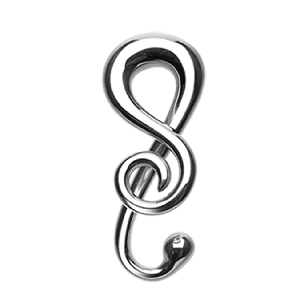 Sold as a Pair Inspiration Dezigns Music Note Treble Clef Steel Ear Gauge Spiral Hanging Tapers