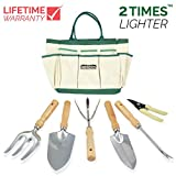 GardenHOME 7 Piece Garden Tool Set Includes 6 LIGHTWEIGHT Hand Tools with Stainless