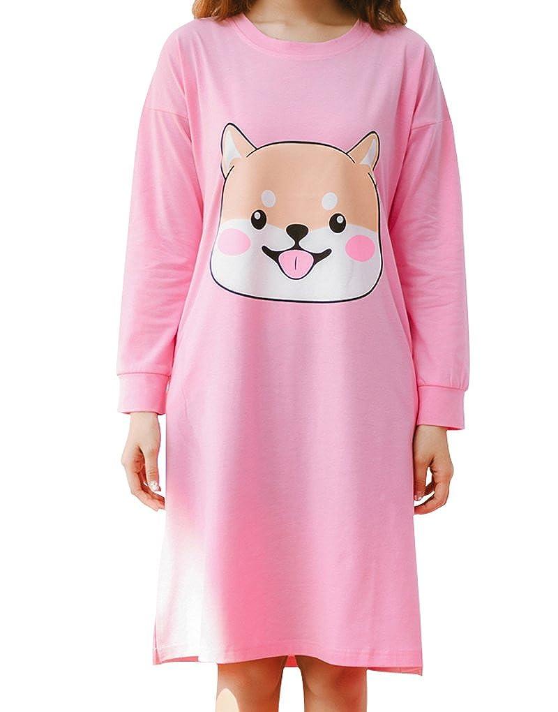 MyFav Big Girls' Lovely Cute Dog Dressing Sleepwear Footprints Back Nightgowns