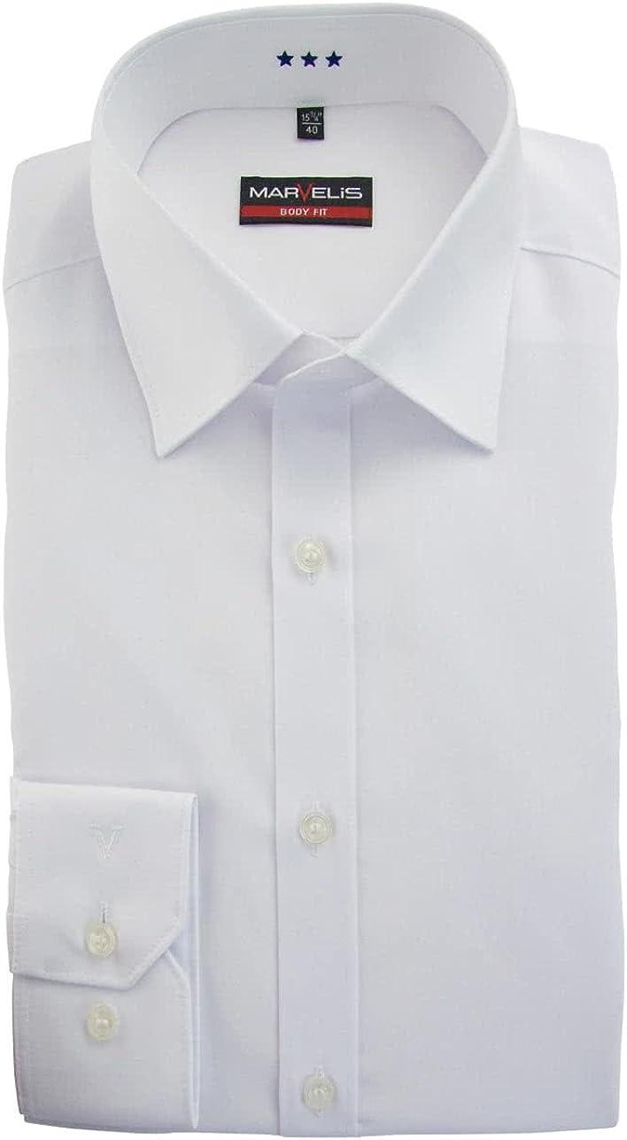 MARVELIS Blanc AL 69 Chemise /à manches longues Popeline