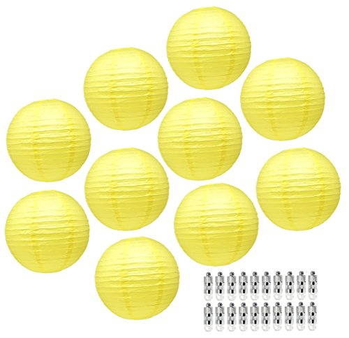 Mudra Crafts White Black Decorative Hanging Round Pastel Paper Lanterns with Led Light Bulb and Battery Set (Yellow Color)