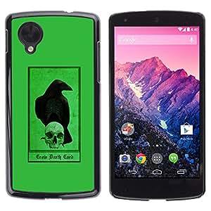 Ihec Tech Cuervo Cuervo verde cráneo Pájaro Oscuro / Funda Case back Cover guard / for LG Nexus 5 D820 D821